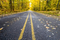 The Open Road. Two lane highway through a lush autumn forest blazing with fall color disappears over the horizon.