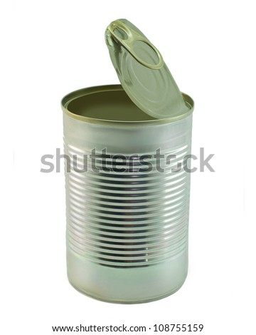 The open tin cans. On a white background.