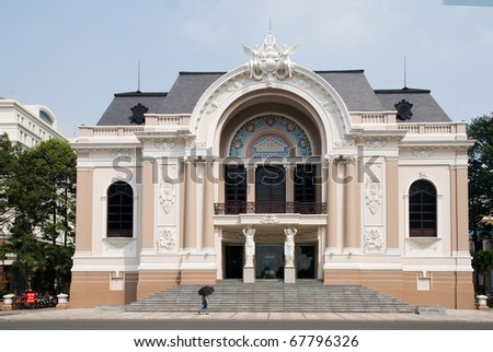 The Opera House in Ho Chi Minh City, Vietnam built by the French architect Ferret Eugene in 1897.