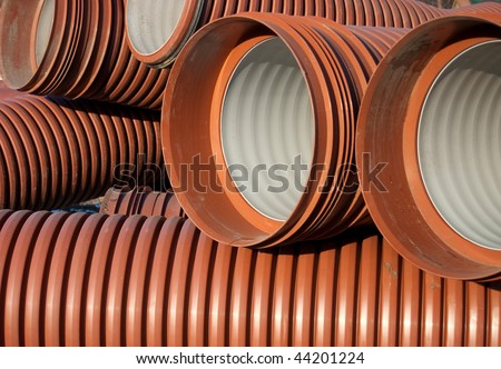 The orange  goffered pipe close-up