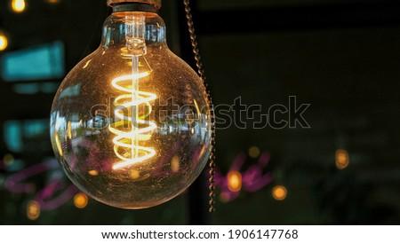 the orange light vintage in the room Foto stock ©