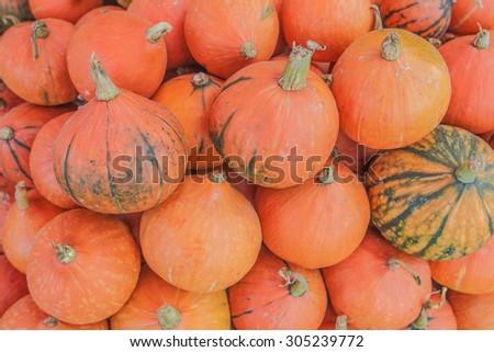 The Orange Pumpkin at fruit and vegetable market, northern Thailand