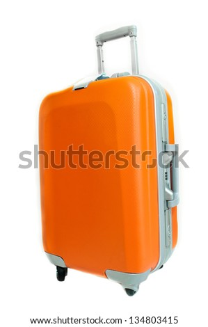 The orange suitcase isolated on white background.