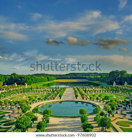 The Orangerie garden of Versailles Palace, Paris, France, UNESCO World Heritage Site