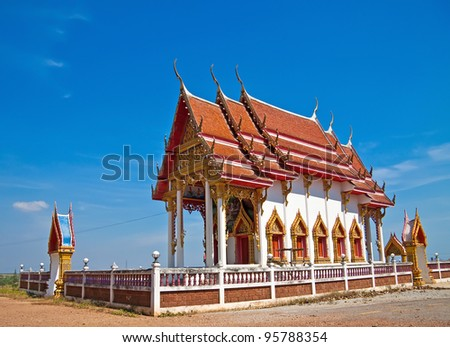 The Ordination hall of thailand temple - stock photo