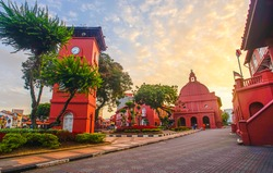 The oriental red building in Melaka, Malacca, Malaysia.