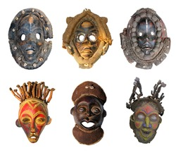 The original African masks, made the traditional way, isolated on white background