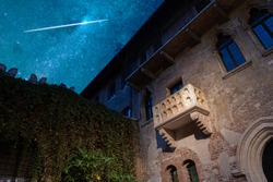 The original balcony of Romeo and Juliet under a stunning starry sky. Verona, Italy. Tragedy by William Shakespeare.