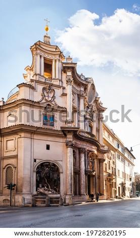 The original Baroque church of San Carlo alle Quattro Fontane, Borromini's masterpiece. Rome, Lazio, Italy Foto stock ©