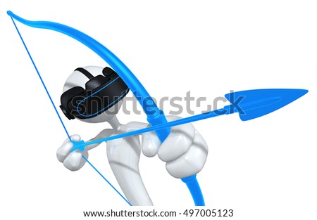 The Original 3D Character Illustration With Virtual Reality VR Glasses Headset Goggles Device Aiming With Bow And Arrow