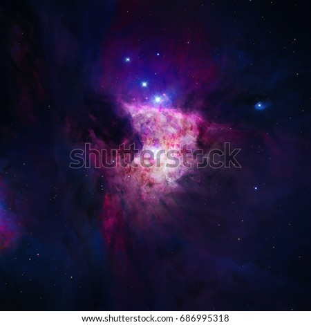 The Orion Nebula or Messier 42 or M42 or NGC 1976 is a diffuse nebula situated in the Milky Way, in the constellation of Orion. Retouched image. Elements of this image furnished by NASA.