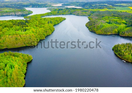 The Orlik Reservoir on Vltava River is largest hydroelectric dam in Czech Republic. Aerial view to important source of sustainable energy in European Union. Stock photo ©