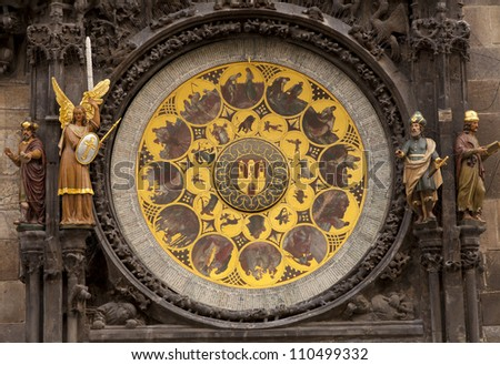 The ornate calendar dial, showing the 12 months of the year, is part of the mechanism of the Prague Astronomical Clock or the Prague Orloj