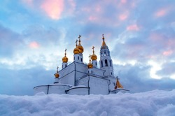 the Orthodox Church at sunset in winter 2