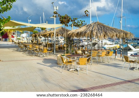 The outdoor restaurant in the traditional Cypriot village of Latchi, that is renowned across Cyprus for it\'s fresh fish and excellent fish restaurants.