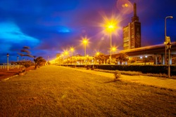 The Outer Marina, Lagos Island at Night with Bright Street Lights