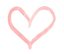 The outline of the flamingo pink color heart drawn with paint on white background
