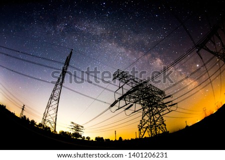 The outline of the power supply facilities and stars at night #1401206231