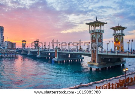 The outstanding Stanley bridge, considered to be one of the most remarkable city landmarks, especially beautiful on sunset, Alexandria, Egypt. #1015085980
