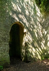 The overgrown ruins of St Mary's church, located in a woods in East Somerton near Winterton-on-Sea, North Norfolk UK.
