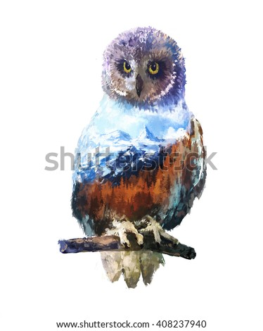 The owl on white background double exposure illustration. Retro design graphic element. This is illustration ideal for a mascot and tattoo or T-shirt graphic. Stock illustration