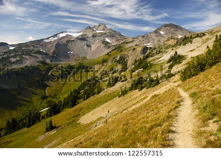The Pacific Crest Trail winds through Cispus Basin in Washington's Goat Rocks Wilderness.