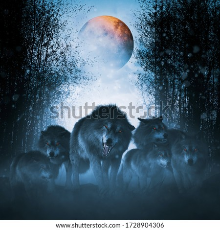 The pack of red moon,Group of ferocious wolf in the forest,3d illustration Stock photo ©