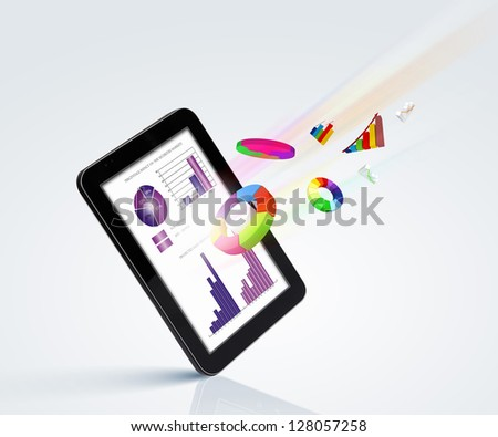 The Pad and three-dimensional graphics on gray background . illustration