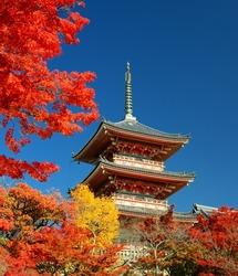 The pagoda of Kiyomizu-dera in Kyoto, Japan.