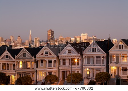 the Painted Ladies and downtown, at alamo square San Francisco