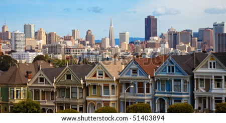 """The """"Painted Sisters"""" Houses at Alamo Square in San Francisco, California."""