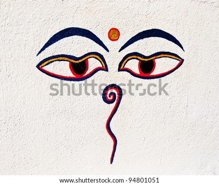 The Painting eye of buddha on wall - stock photo