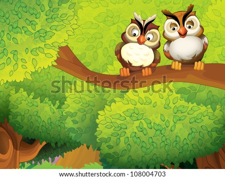 The pair of birds in love or friends at the branch - illustration for kids 1