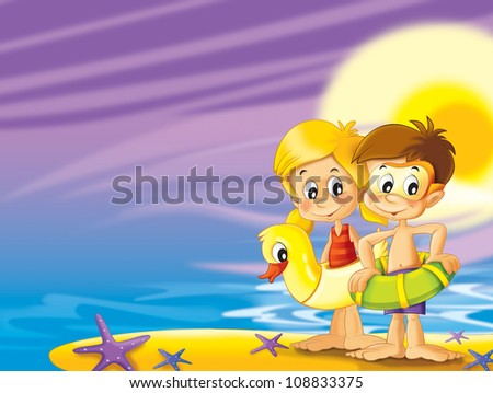 The pair of kids standing by the sea preparing themselves to swim