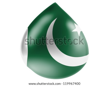 The Pakistani flag painted on  3D water drop