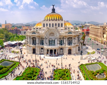 The Palace of Fine Arts in Mexico City - Aerial view with unrecognizable people #1165714912