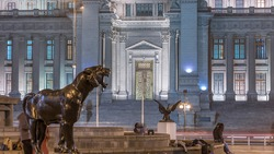 The Palace of Justice of Lima night view. It is the main seat of the Supreme Court of Justice of the Republic of Peru and symbol of the Judicial Power of Peru. Panther and eagle statues