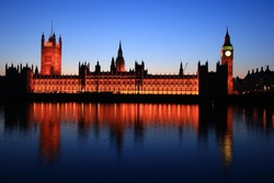 The Palace of Westminster and Big Ben from the South Bank of the Thames in London, England