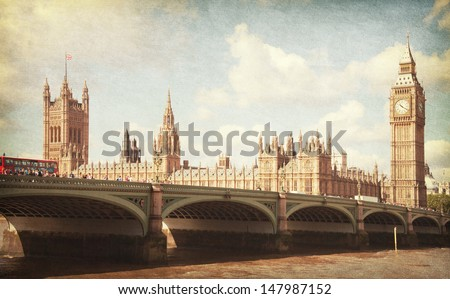 The Palace of Westminster, Elizabeth Tower and Westminster Bridge. Toned image. Added paper texture.