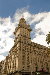 The Palacio Salvo, in the independence square of Montevido, the center of the capital of Uruguay. Eclectic Art Deco style, is an emblematic building in the city.
