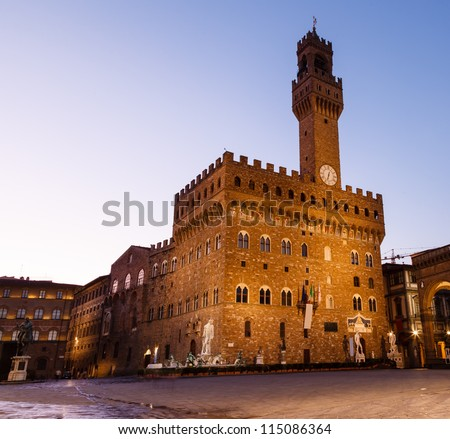 The Palazzo Vecchio (Old Palace) a Massive Romanesque Fortress Palace, is the Town Hall of Florence, Italy