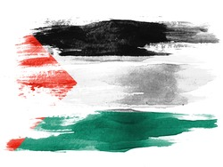 The Palestinian flag painted on  white paper with watercolor