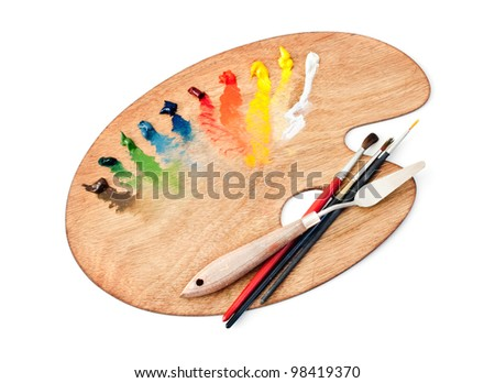 The palette of paints and brushes