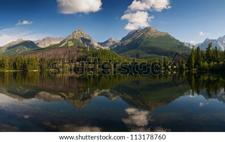 The panorama of mountains reflected in the water-Strbske lake, High Tatras, Carpathian, Slovakia