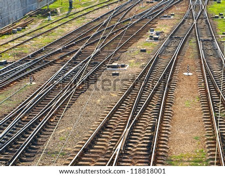 The panorama of railroad tracks. Top view.
