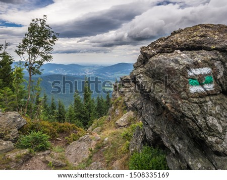 The panorama view of the mountainious forest and rocks captured on the hiking trail in national park Jeseniky Mountains, (Hrubý Jeseník). Czech Republic. #1508335169