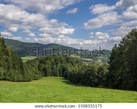 The panorama view of the mountains and pine forest captured on the hiking trail in national park Jeseniky Mountains, (Hrubý Jeseník). Czech Republic. #1508335175