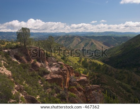 The panoramic view from the top of the Pinnacles National Monument, California, looking east