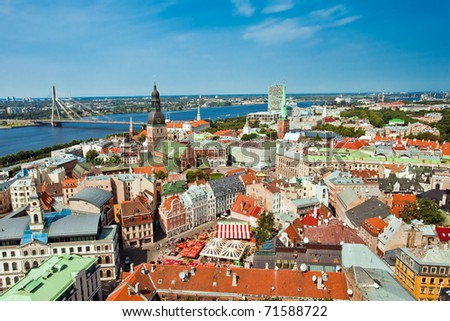 The panoramic view of city Riga, Latvia