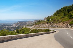 The panoramic view of Marseilles from mountain road in summer time